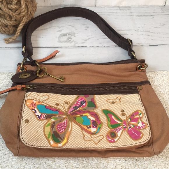 Vintage Fossil Brown Tan Canvas Butterfly Handbag